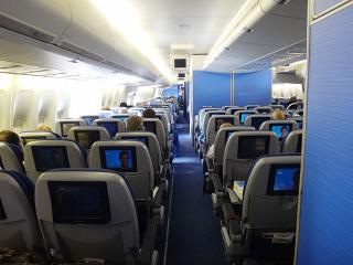 The passenger cabin on the Boeing 747-400 KLM