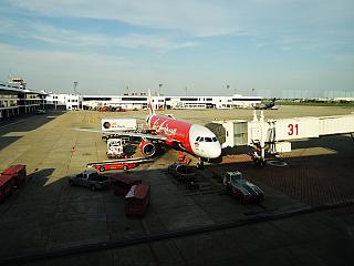 The Airbus A320 of Thai AirAsia at the airport at don Muang