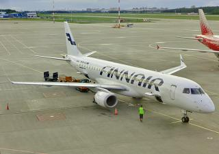 The Embraer 190 Finnair at the airport Pulkovo