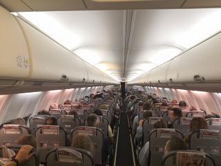 The passenger cabin of a Boeing 737-800 of Nordwind Airlines