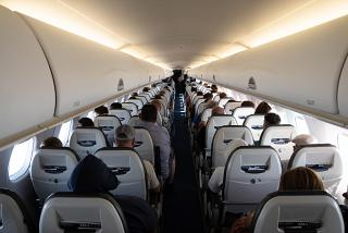 The passenger cabin of the Embraer 190 of the Lufthansa CityLine
