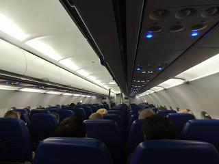"""The cabin of the Airbus A319 the airline """"Aeroflot"""""""