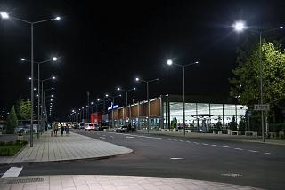 The passenger terminal of the Burgas airport by night