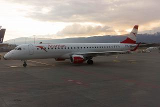 The Embraer 195 Austrian airlines at Geneva airport
