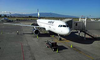 The Airbus A320 Volaris in the airport of Guadalajara