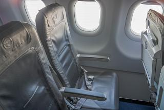 The passenger seats in the Airbus A320 of Lufthansa