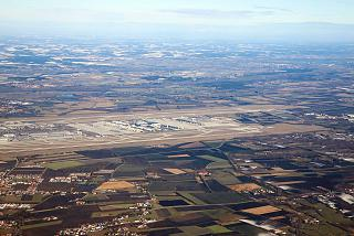 A view of the Munich airport after takeoff