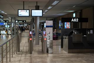 The boarding gate at the Zurich airport