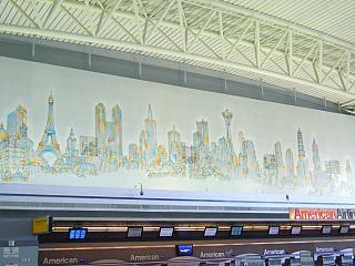 Барельеф в терминале 8 аэропорта Джона Кеннеди в Нью-Йорке