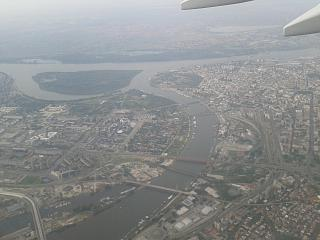 In flight over the centre of Belgrade