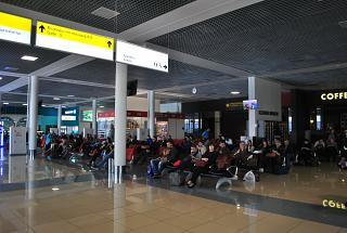The waiting room at the departure area of the airport Vladivostok