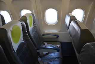 The passenger seats in the Airbus A319 S7 Airlines