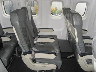 The passenger seats in the plane ATR 72-500 of airlines Tarom