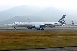 Airbus A350-900 Cathay Pacific at Hong Kong airport