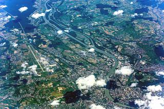 The city of Basel and the EuroAirport on the border of Switzerland, Germany and France