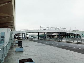 At the entrance to the passenger terminal of the Pulkovo airport