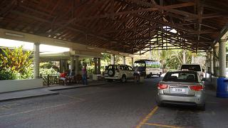 Taxi Parking at the airport of Praslin
