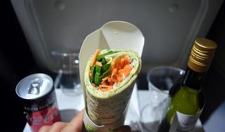 Vegetable roll beverages - food for the flight Paris-Milan Air France