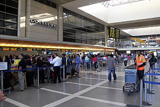 Reception in the international airport terminal in Los Angeles