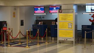 Стойки регистрации бизнес-класса авиакомпании Air Serbia в аэропорту Белграда