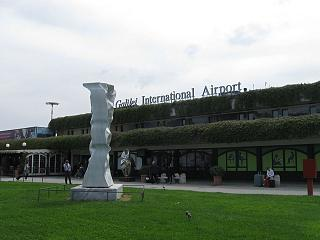The terminal building of the airport of Pisa Galileo Galilei