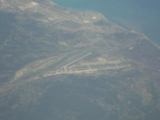 The view from the plane to the airport of Sochi