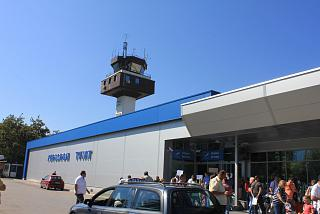 The control tower and exit from the arrivals area of the airport Tivat