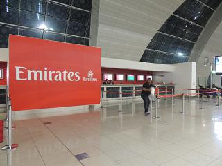 Emirates information Desk in the departures area of Dubai airport