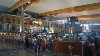 Стойки регистрации и приема багажа авиакомпании SAS в аэропорту Осло Гардермуэн
