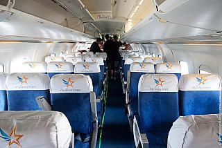 The cabin of the BAe 146 airline Aviastar