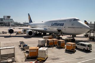 Airliner Boeing-747-8 D-ABYL of Lufthansa at Frankfurt airport