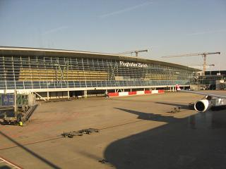 The passenger terminal of Zurich airport airside