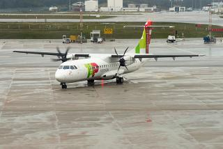 The plane ATR of 72 airlines White Airways color TAP Express Porto airport