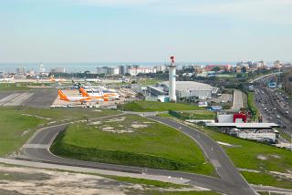 View of the T2 terminal of low cost airlines at Lisbon Airport