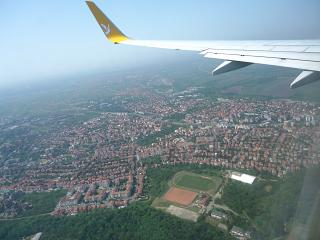 In flight over the outskirts of Belgrade
