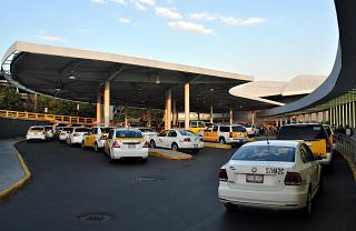 The taxi rank at the terminal T1 of the airport of Mexico city Benito Juarez