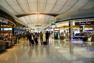 Shops in clean area of airport Suvarnabhumi