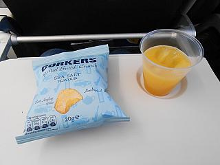 Chips and juice - a meal on a flight British Airways Berlin-London