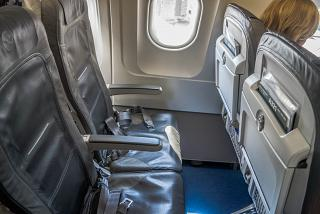 The passenger seats in the airplane Airbus A321 Lufthansa