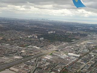 A view of the city of Toronto before landing at Pearson