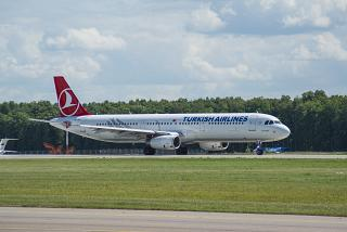 Airbus A321 of Turkish Airlines on the runway at Vnukovo airport