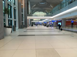The arrivals level in the Central part of the terminal (zone C) of Istanbul New airport