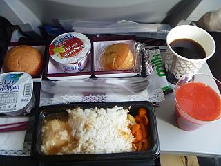 Meals on a flight Qatar Airways Doha Ho Chi Minh city