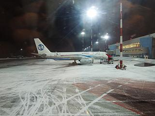The Tu-204-300 Vladivostok Avia at the airport of Vladivostok