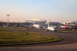 Planes in queue for takeoff at Moscow Vnukovo airport