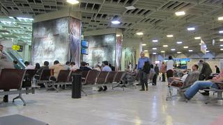 The waiting room at the airport of Mehrabad in Tehran