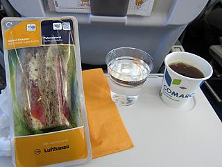 Food on the flight from Frankfurt to Kiev Lufthansa