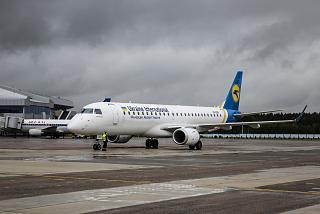 Embraer 190 Ukraine International airlines at the airport of Minsk