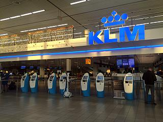 The reception area is on the KLM flights in terminal 2 at Schiphol airport
