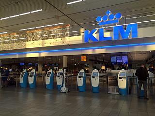 Зона регистрации на рейсы KLM в терминале 2 аэропорта Схипхол